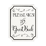 Pizarra Please Sign our Guest Book MDF Signs 18cm x 23cm x 2cm