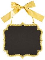 Pizarra Large Gold Glitter Marquee Chalkboard MDF Signs 25cm x 23cm x 0.7cm
