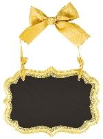 Pizarra Small Gold Glitter Marquee Chalkboard MDF Signs 14cm x 10cm x 0.7cm