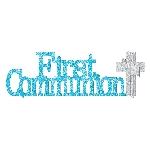 Centro de Mesa First Communion Blue Glitter Table Decorations