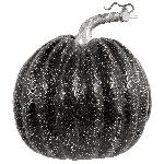 Medium Black Pumpkins With Silver Crackle Pattern 16Cm X 17Cm