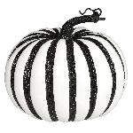 Large White Pumpkin With Black Stripes 19Cm X 17Cm