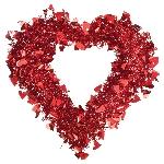 DECO RED PRISMATIC FOIL TINSEL HEART WREATH 39CM X 38CM