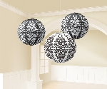 Farolillos Black Damask Printed Lanterns 24cm