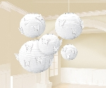 Farolillos White Paper Lanterns with Butterfly Attachments