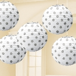 Farolillos White Hot Stamped Paper Lanterns 12cm
