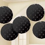 Farolillos Black Hot Stamped Paper Lanterns 12cm