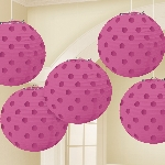 Farolillos Bright Pink Hot Stamped Paper Lanterns 12cm