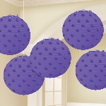 Farolillos Purple Hot Stamped Paper Lanterns 12cm