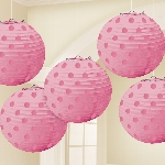 Farolillos New Pink Hot Stamped Paper Lanterns 12cm