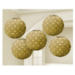 Farolillos Gold Hot Stamped Paper Lanterns 12cm