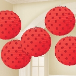 Farolillos Apple Red Hot Stamped Paper Lanterns 12cm