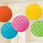 Farolillos Multi Coloured Hot Stamped Paper Lanterns 12cm