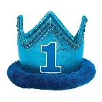 Gorro 1st Birthday Blue Fabric Crown