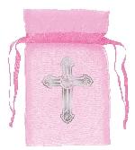 Bolsa organza Pink Organza Bag with Crosses - 8.8cm