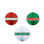 3 Honeycomb Balls Christmas 29.2 cm