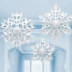 3 Paper Fan Decorations Snowflake 61 cm