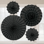 Decoracion Abanico brillante papel Negro