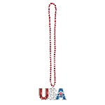 Disfraz Acc 4th of July Patriotic Bead Bling Necklaces