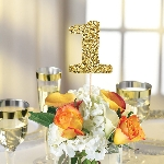 Marcasitios Gold Glitter Table Number Picks -