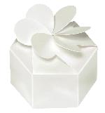 Cajas Petal Pearl White Favour Boxes 7cm dia