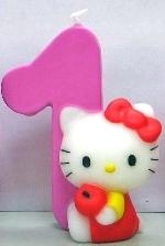 Vela Hello Kitty 7cm: Nº1