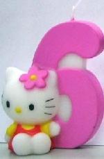 Vela Hello Kitty 7cm: Nº6