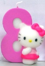 Vela Hello Kitty 7cm: Nº8