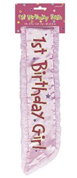 Banda 1st Birthday Pink Fabric Sash 37cm x 9.5cm
