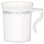 Vasos Premium White Plastic Coffee Cups Silver Detail