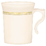 Vasos Premium Cream Plastic Coffee Cups Gold Detail