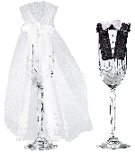 Acc Decoracion Bride & Groom Stemware - Glasses Not Included - 22.8cm
