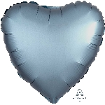 "18""/45cm CORAZON Satin Steel Blue Heart (EMPAQUETADOS)"