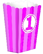 Cajas Pink Striped 1st Birthday Popcorn Favour