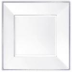 Plato Premium White Square Plastic Plates Silver Border 25cm