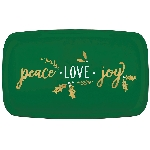 Bandeja Peace, Love, Joy Coupe Rectangular Hot Stamped 46cm x 28cm