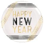 Plato Plastic Geometric Happy New Year Plastic Coupe Plates 19cm