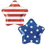 Platos Celebrate USA Star Shaped Foil Plates 27cm