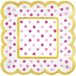 Candy Bar Pink Buffet Scalloped Paper Plates 14cm