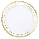 Platos Premium White Plastic Plates Gold Trim 16cm