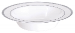 Bowl Premium White Plastic Bowls Silver Trim 340ml