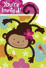 8 Invitaciones & Sobres Monkey Love