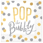 Servilletas pequeñas Cheers To You Pop The Bubbly Hot Foil Stamped 25cm