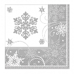 16 Lunch Napkins Sparkling Snowflake