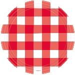 Platos Diseño Gingham Rojo Fiesta Picnic - Platos de Papel para Fiesta 26,7cm