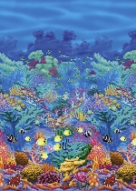 Decorado de pared Underwater Friends Coral Reef Room Scene Setters - 4 Rolls