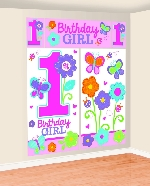 Decorado de pared Sweet Birthday Girl Scene Setters Kit