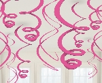 Decoracion Colgante Bright Pink Plastic Swirls Decorations 55cm