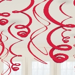 Decoracion Colgante Red Plastic Swirls Decorations 55cm