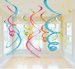 Decoracion Colgante Multi-Colours Plastic Swirls Decorations 55cm